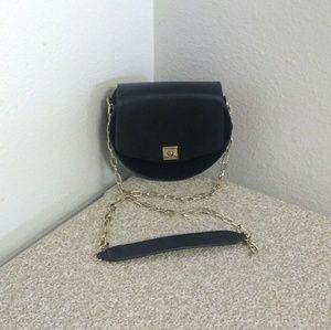 Zara Basic Black Faux Leather Shoulder Bag.